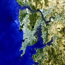 Mumbai as seen from space with Salsette Island clearly visible.