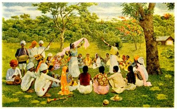 East Indian coolies on a Trinidad Cacao Estate, circa 1903.