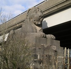 Monumental Lion guarding Britannia Bridge, Wales