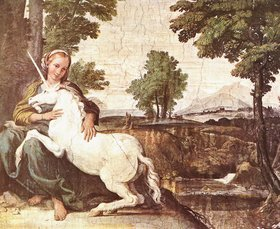 The gentle and pensive virgin has the power to tame the unicorn, in this fresco in Palazzo Farnese, Rome, probably by Domenichino, ca 1602